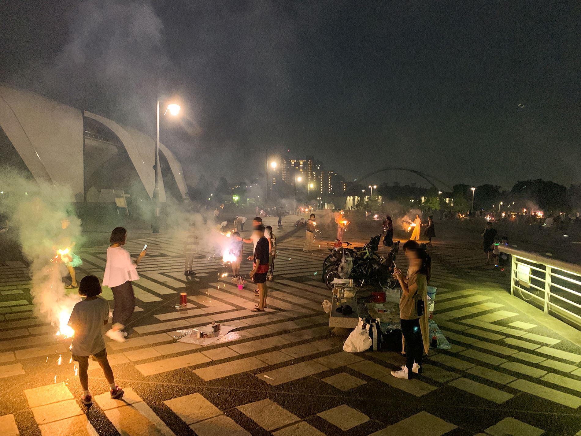 駒沢公園で花火 | Hand held fireworks at Komazawa park, Tokyo